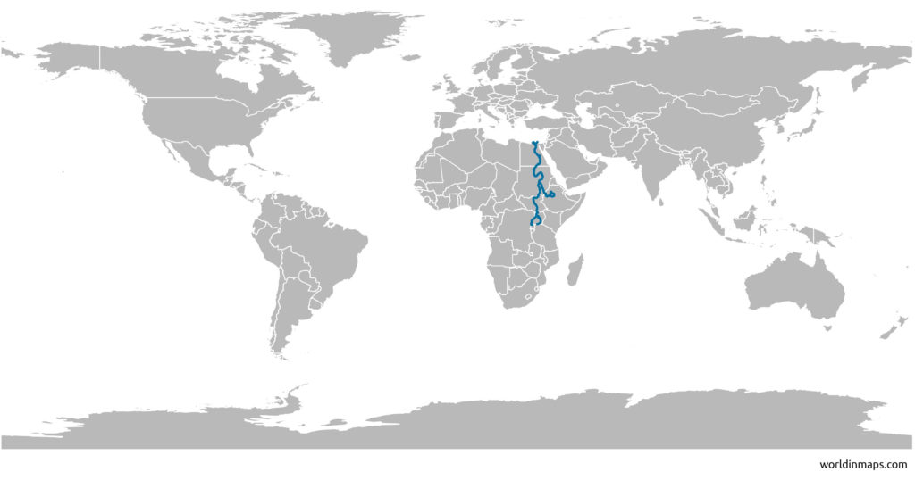 location of the Nile river on the world map
