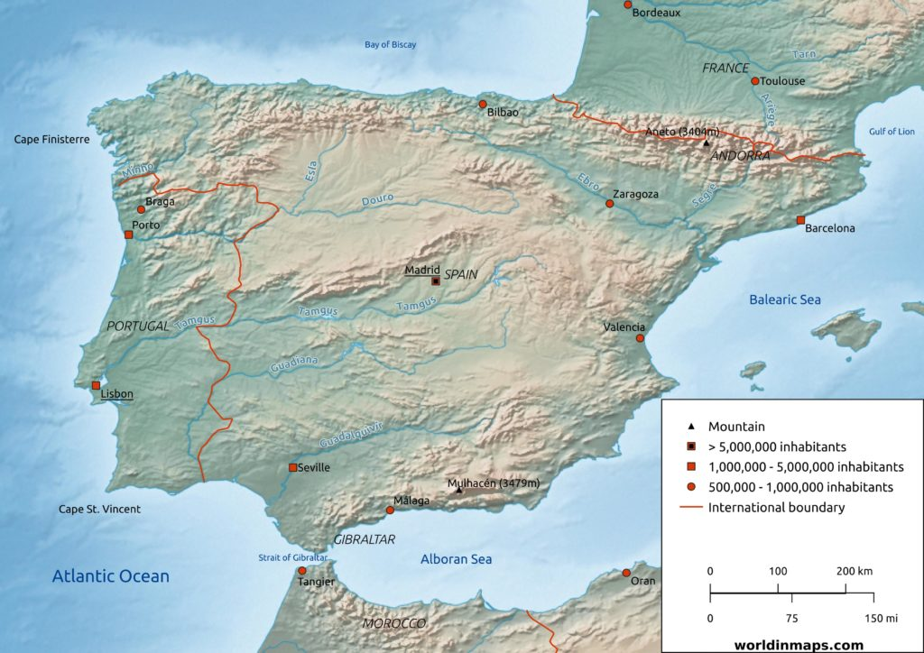 Iberian peninsula map (Portugal and Spain)