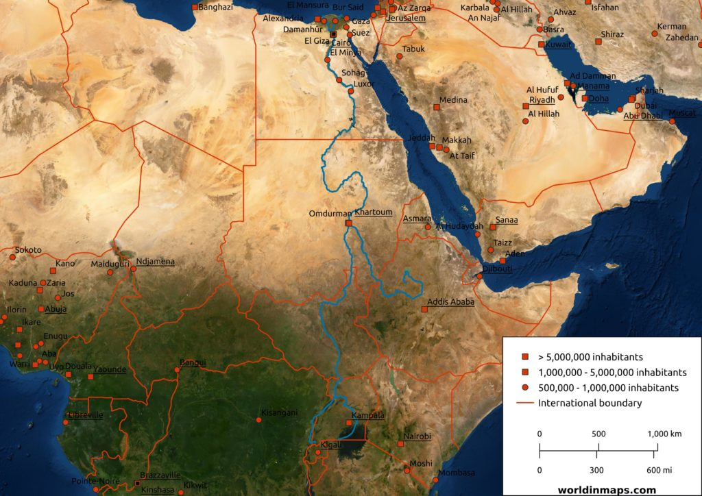 Nile river satellite map.