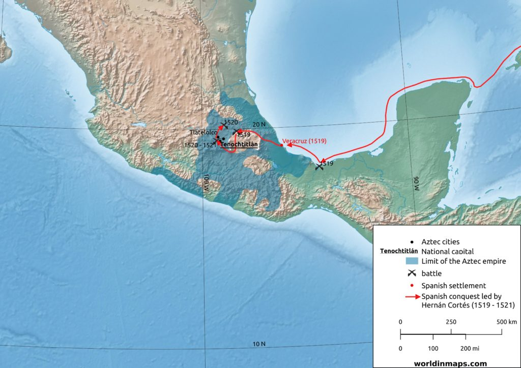Spanish conquest of the Aztec empire led by Hernan Cortes