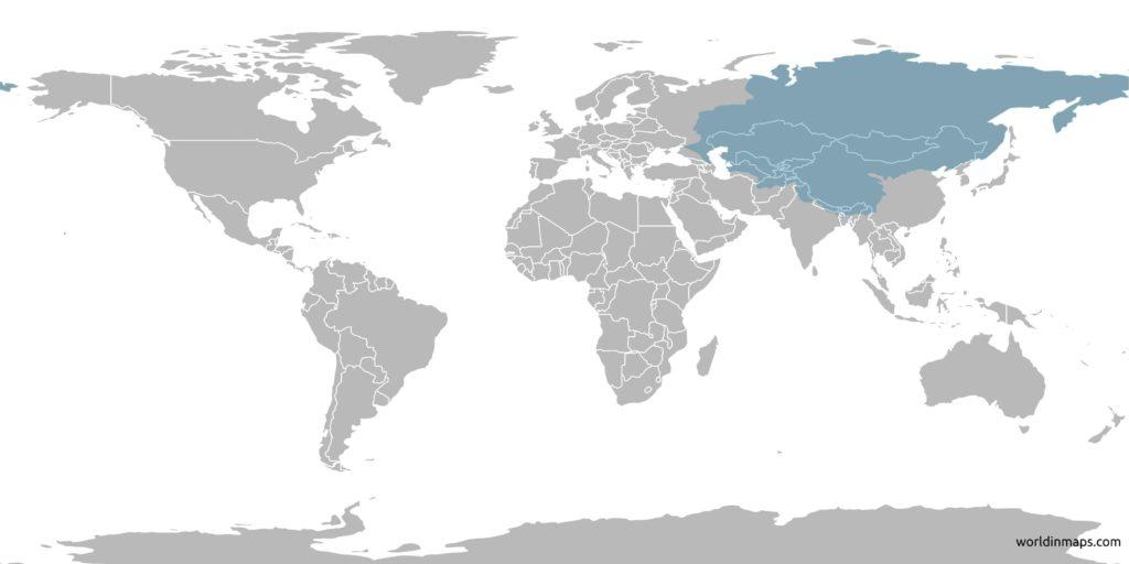 Tartary (Tartaria) on the world map