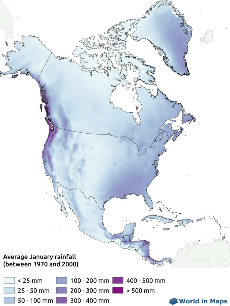 Map of the average January rainfall in North America (between 1970 and 2000)