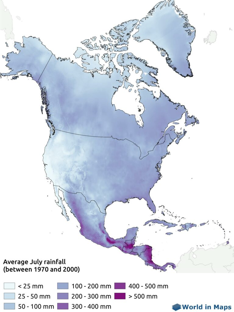 Map of the average July rainfall in North America (between 1970 and 2000)