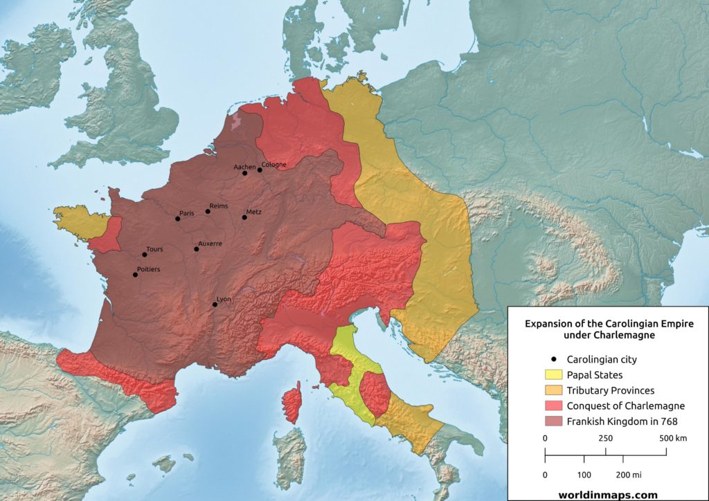 Map of the expansion of the Carolingian Empire under Charlemagne