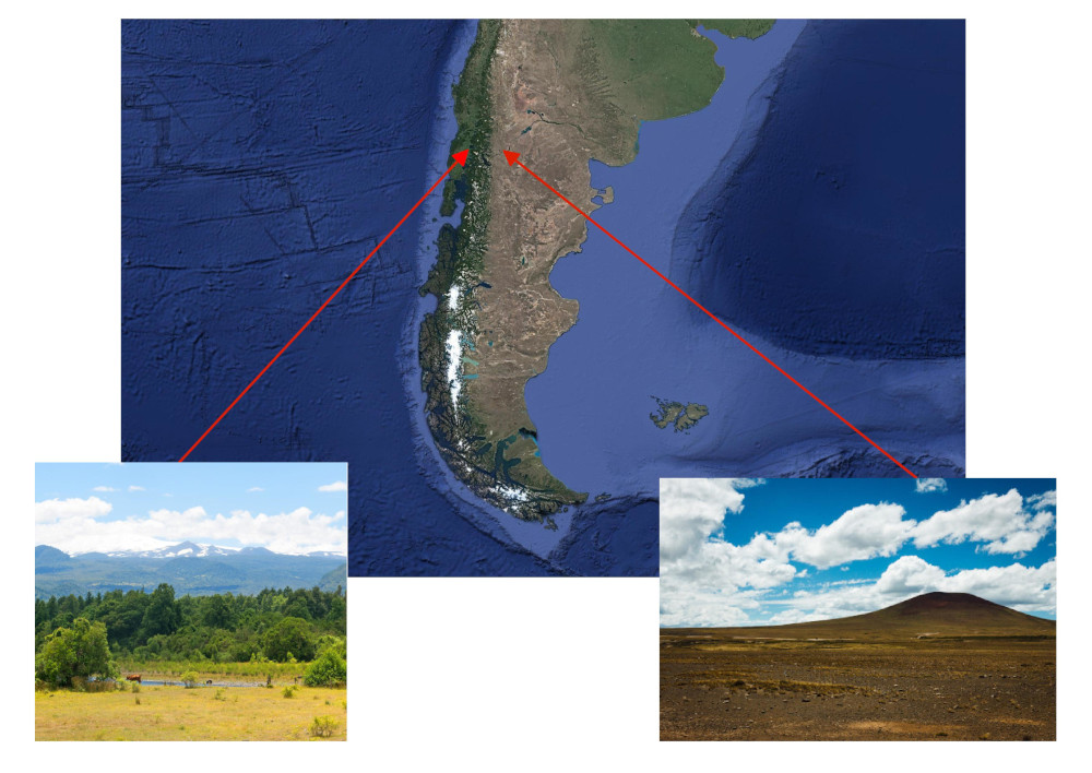 Map of the consequence Foehn winds in Chile and Argentina