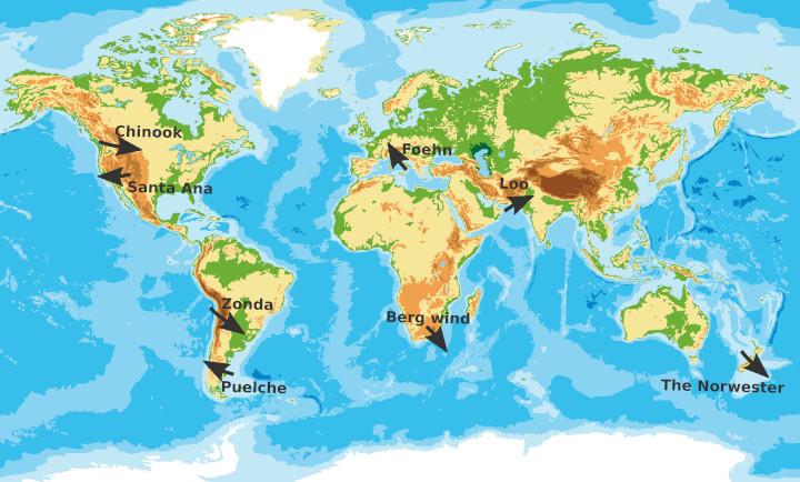Maps main Foehn winds in the world