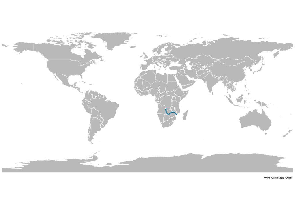 location of the Zambezi river on the world map