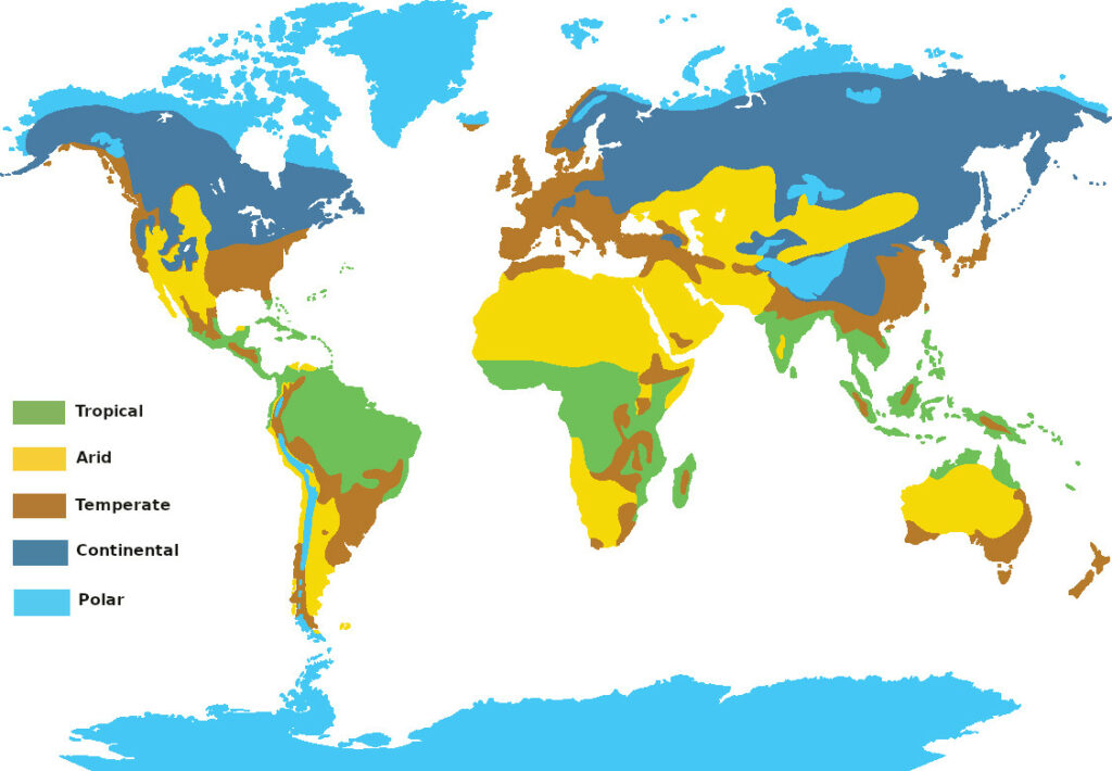 Map of the major climatic zones of the world
