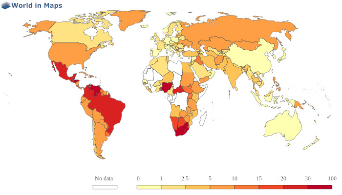 map distribution of homicides