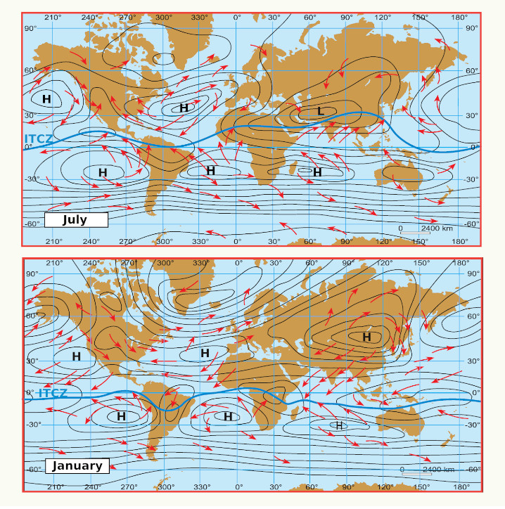 Map of the major global wind and pressure systems in January and July