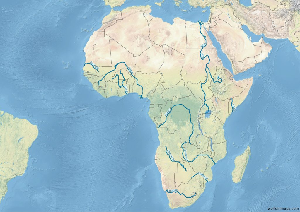 map of the major rivers of Africa