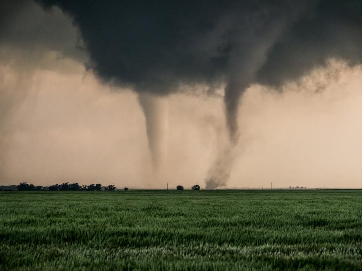 Picture of a multiple vortex tornado