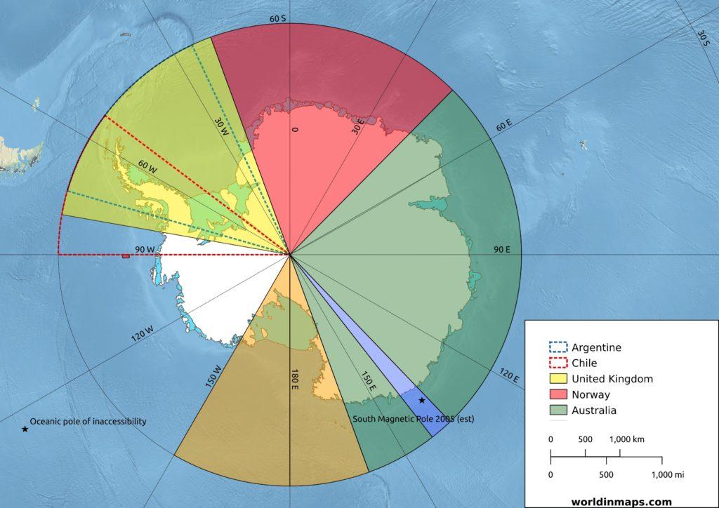 political map of Antarctica