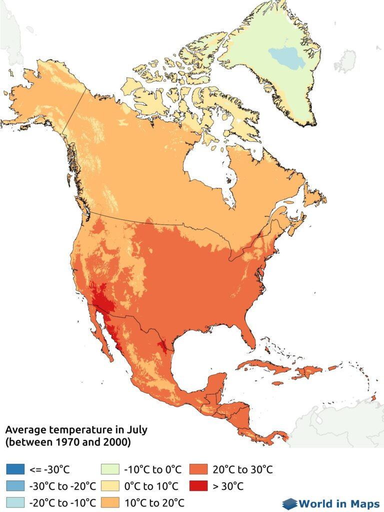 Map of the average temperature in July in North America (between 1970 and 2000)