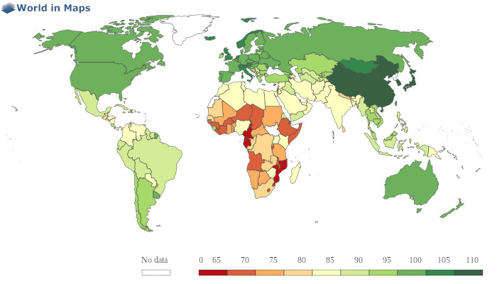 world map average iq by country