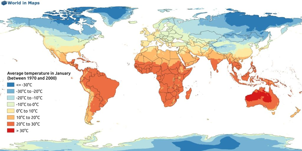 World map with the average temperature in January (between 1970 and 2000)