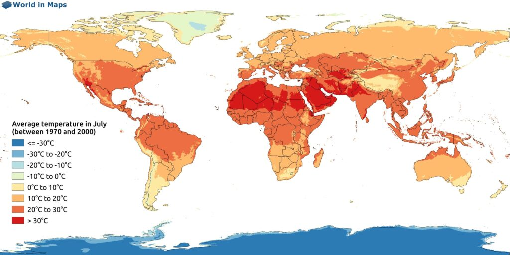 World map with the average temperature in July (between 1970 and 2000)