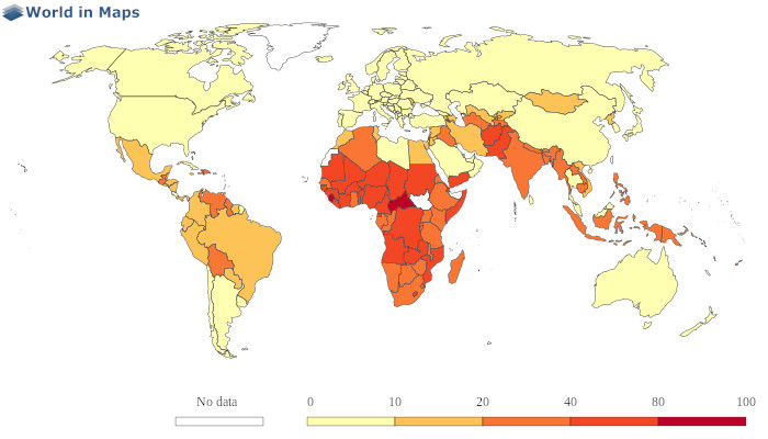 world map with the infant mortality (deaths per 1000 live births)