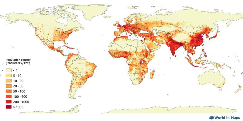 world population density map (inhabitants per sq km)